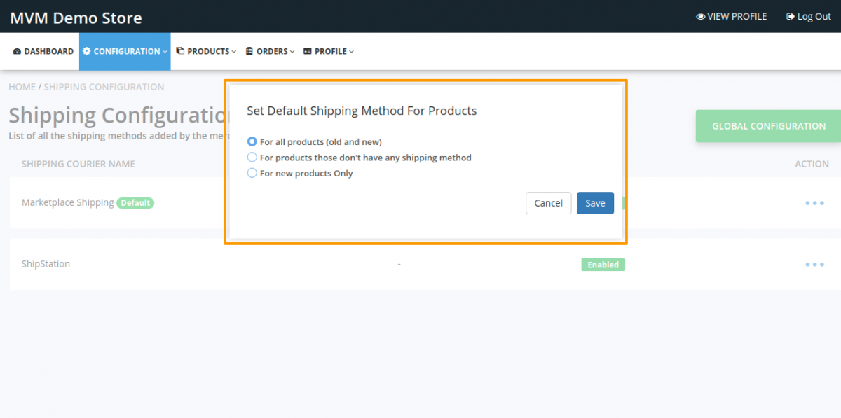 Set Default Shipping Method For Products