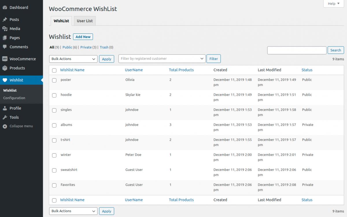 Webkul.woocommerce-multiple-wishlist-admin-list