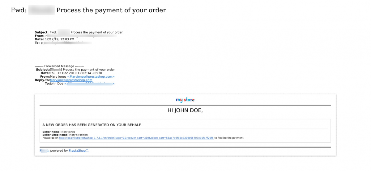 email to customer when seller creates order to complete the payment