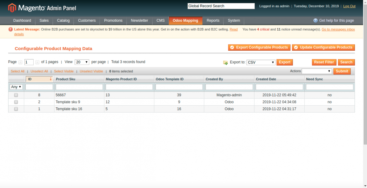 Export and Update Configurable products from Magento to Odoo