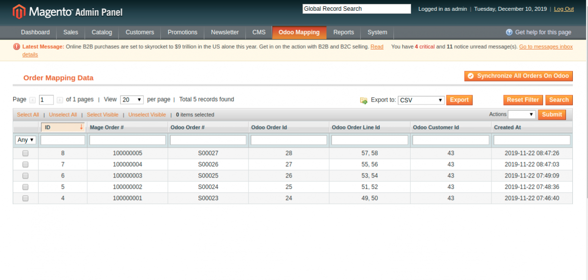 Synchronize all orders from Magento to Odoo