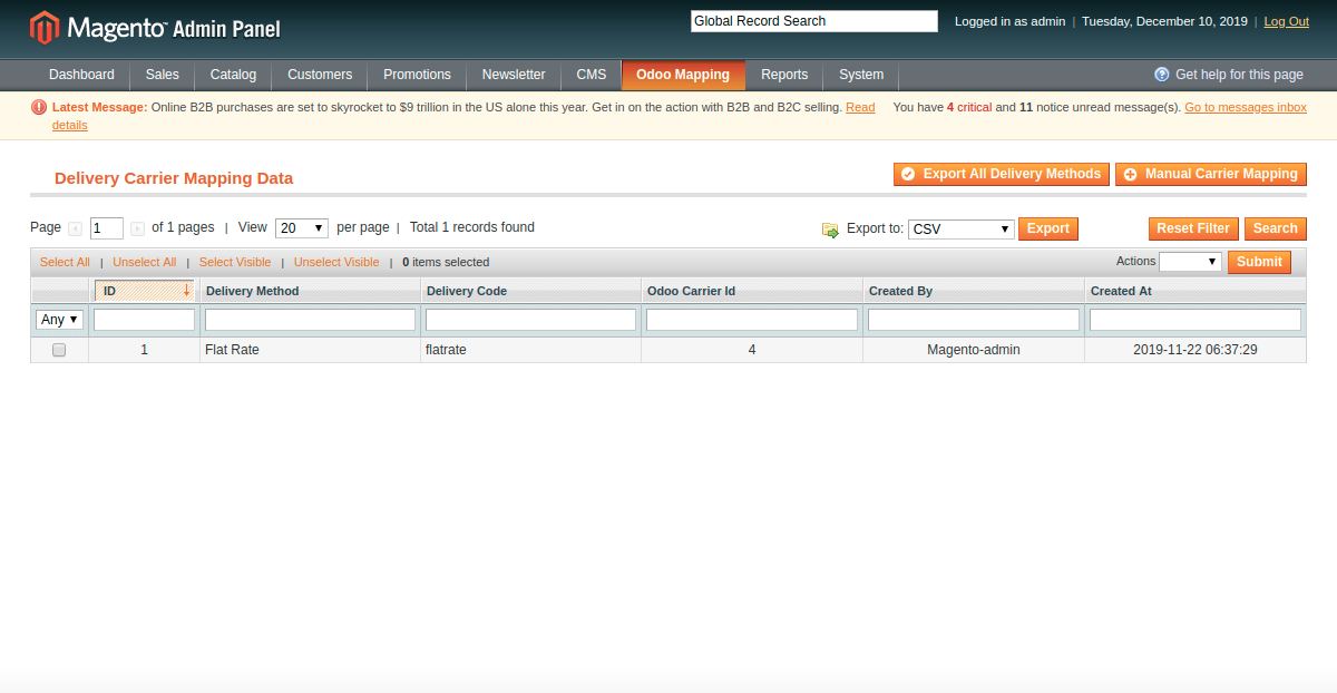 Export All Delivery Methods from Magento to Odoo