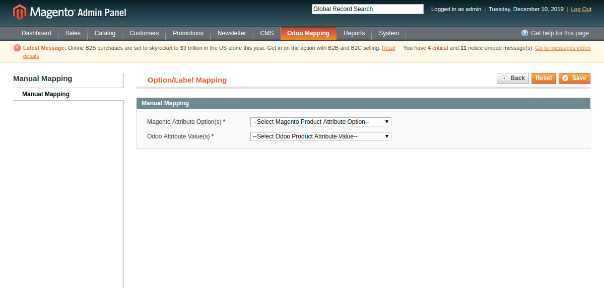 Manually Mapping Attribute Options at Magento End
