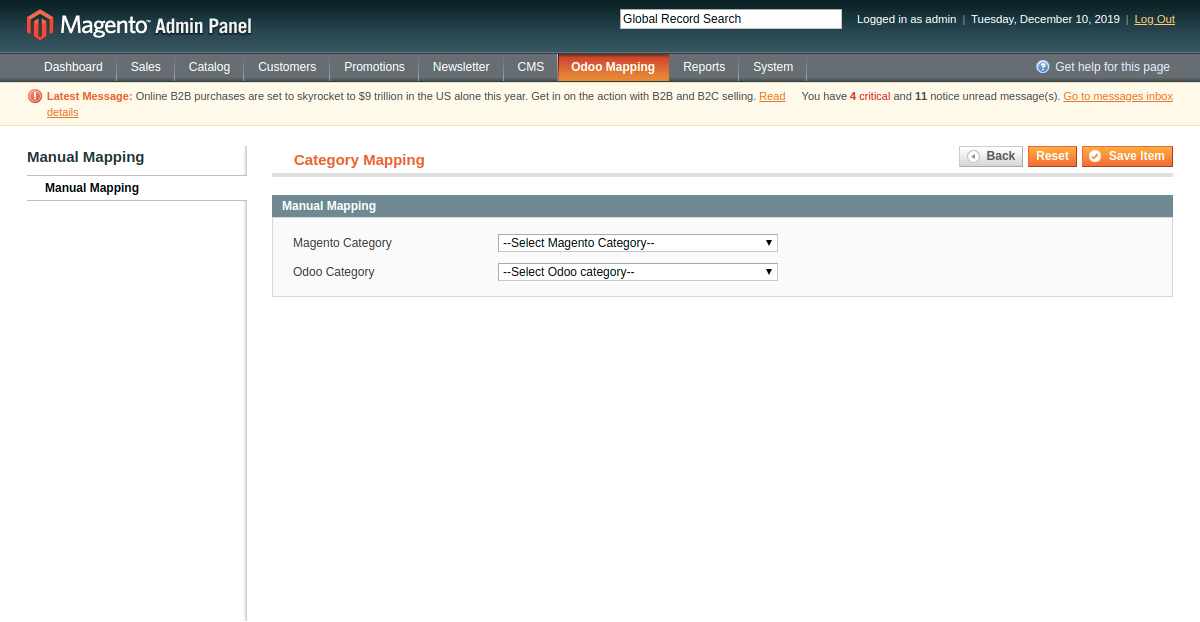 Manually Mapping Category at Magento End