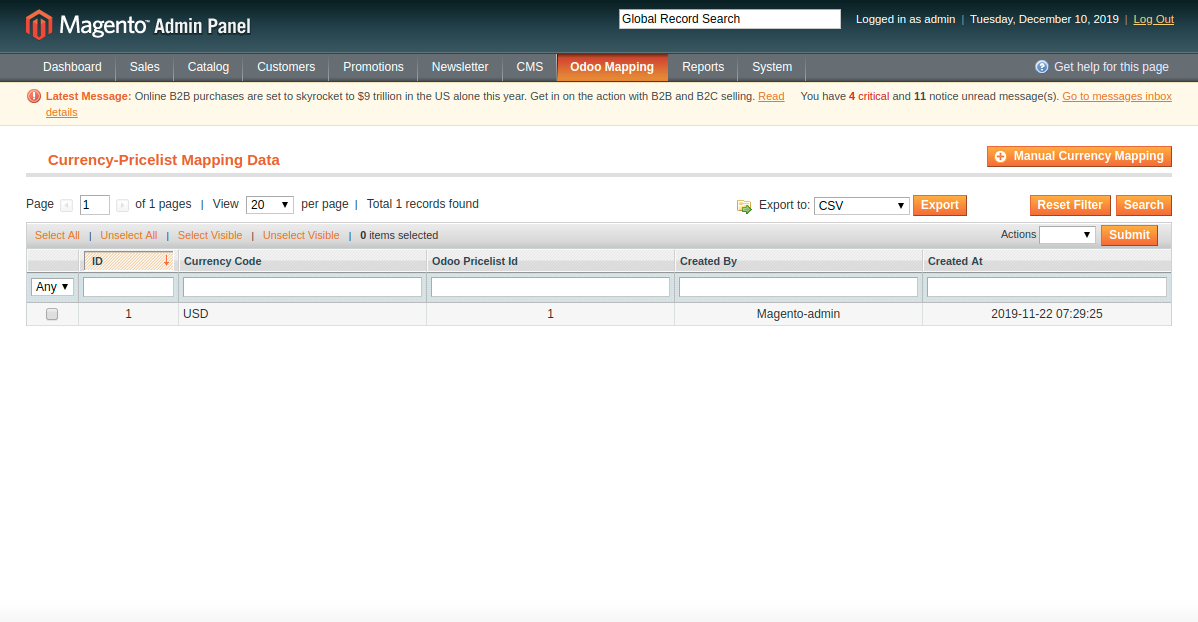 Manually Mapping Currency at Magento End