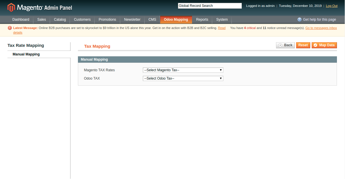 Manually Mapping Tax Rates at Magento End