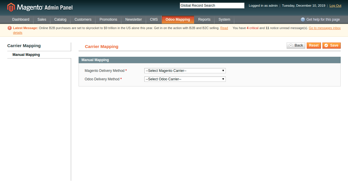 Manually Mapping Delivery Method at Magento End