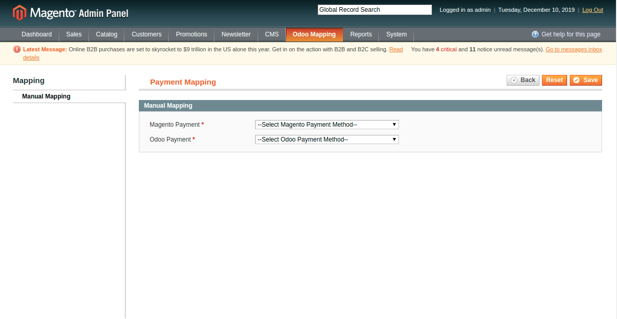 Manually Mapping Payment Method at Magento End