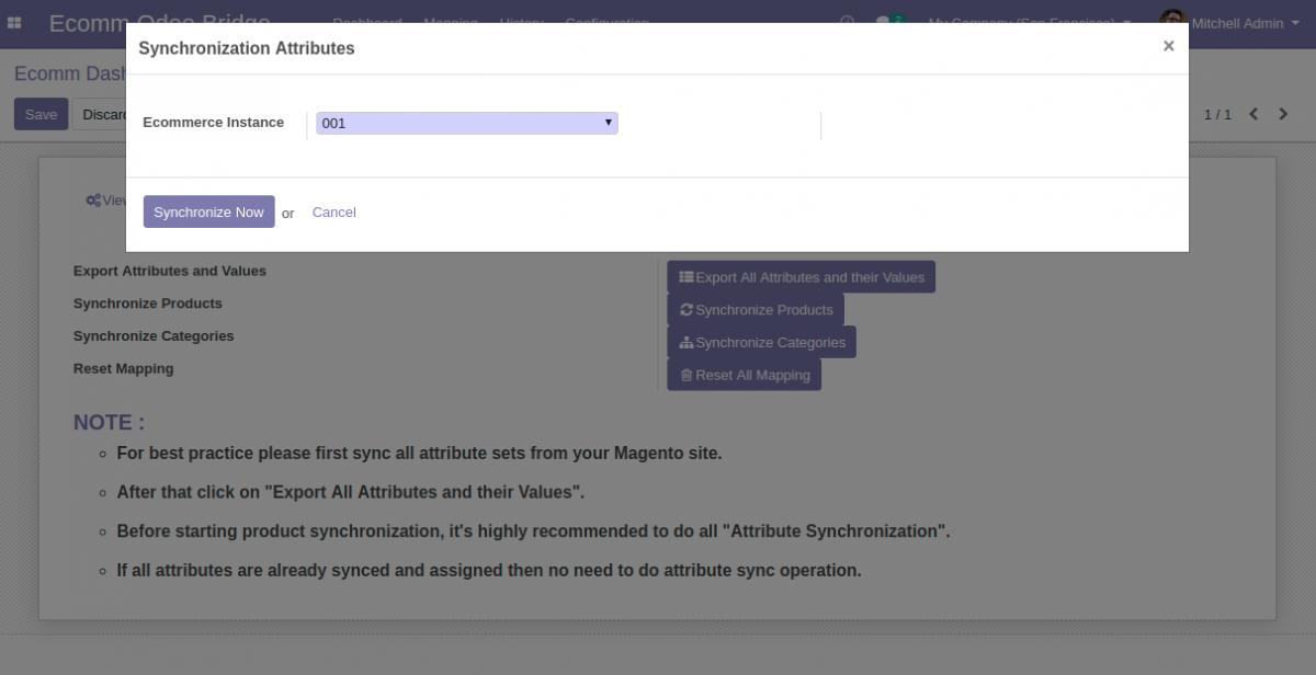 Bulk Synchronize attributes from Odoo to magento