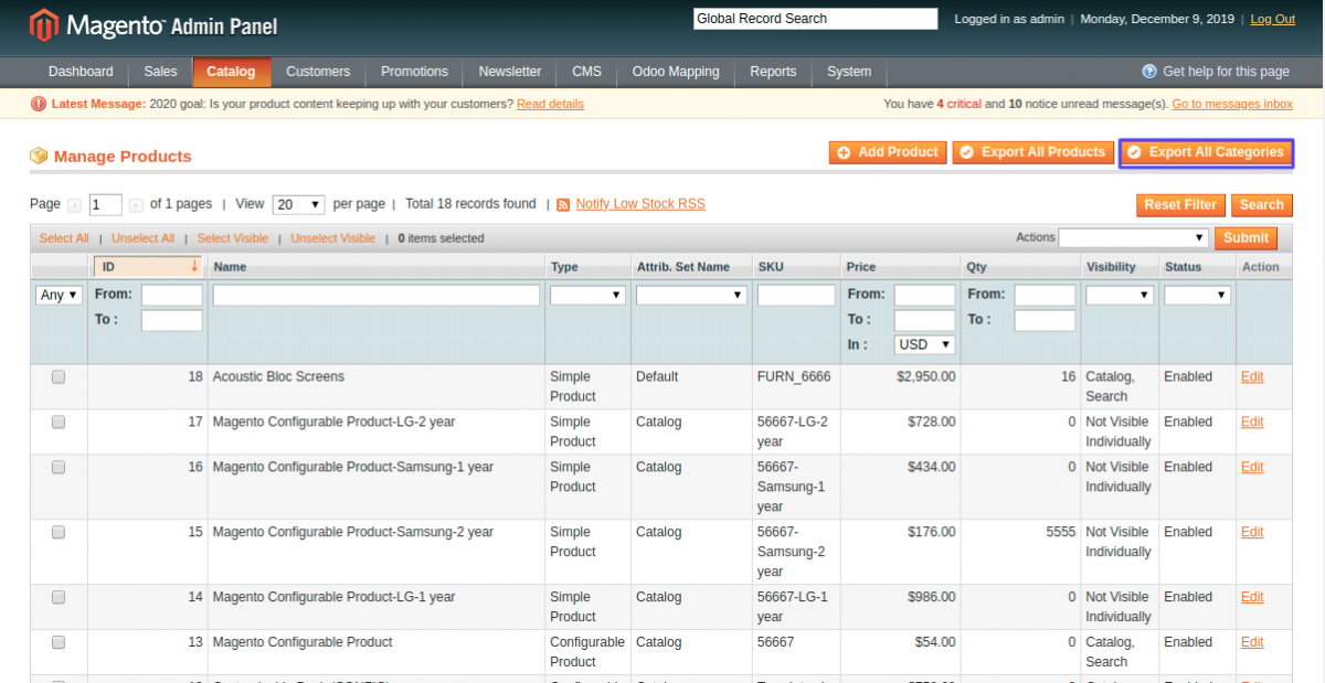 Export all Categories from Magento to odoo