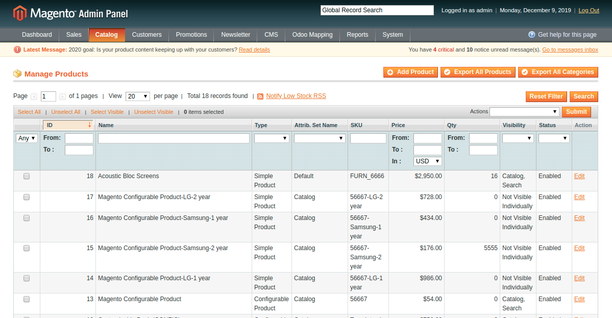 Export All Product from Magento to Odoo