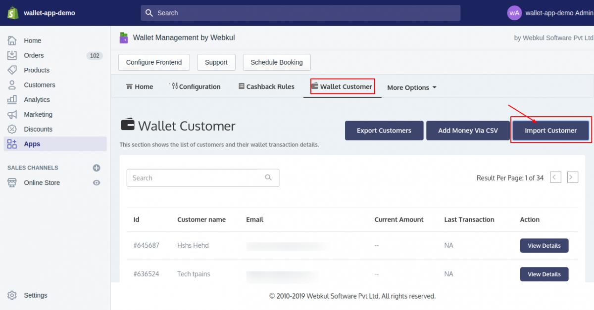 Wallet App-Import Customer