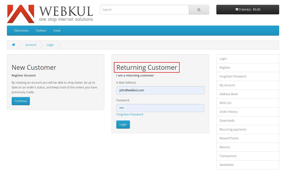 webkul-opencart-web-application-firewall-security-already-registered-customer-login