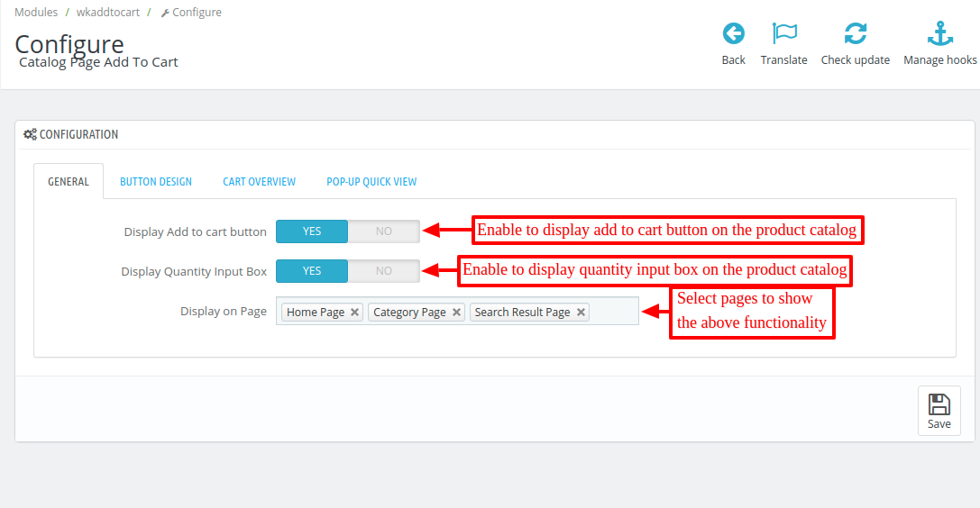 Configure general settings of product list add to cart button