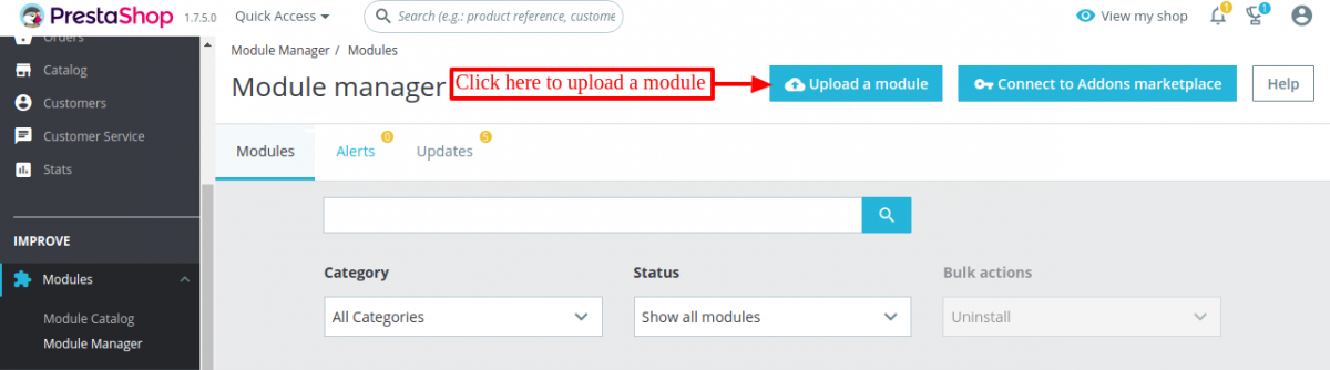 Click to install shopify connector module