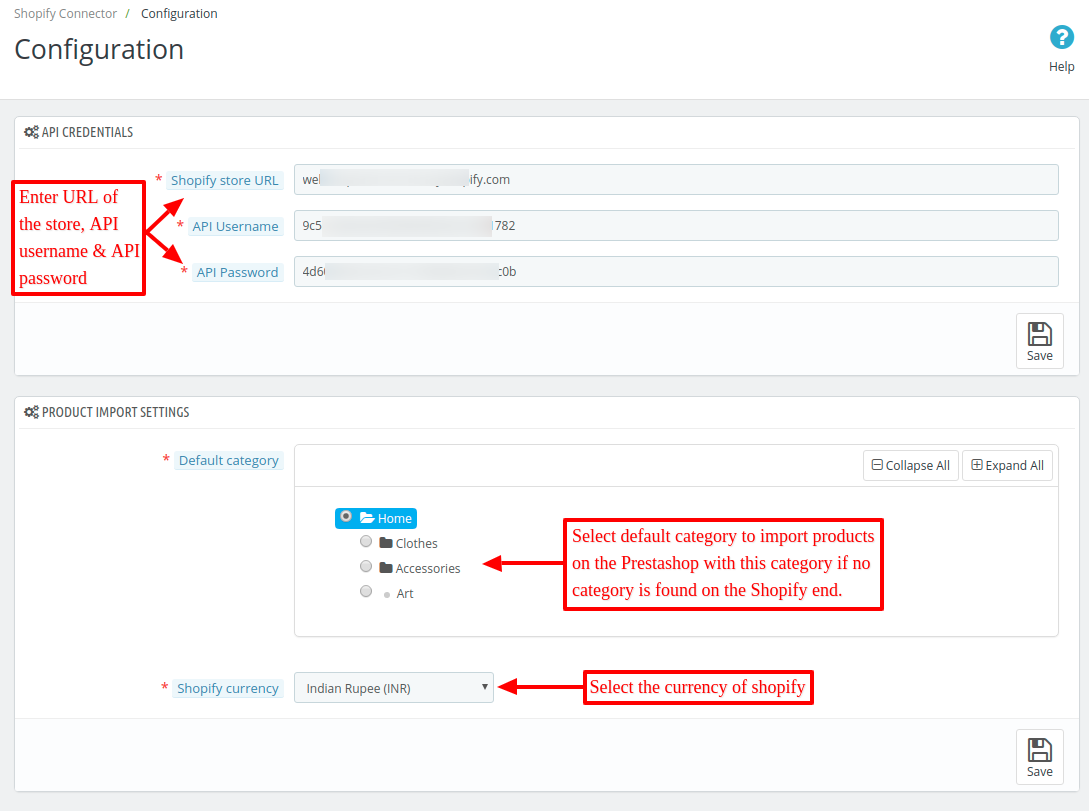 Configure settings of shopify connector module