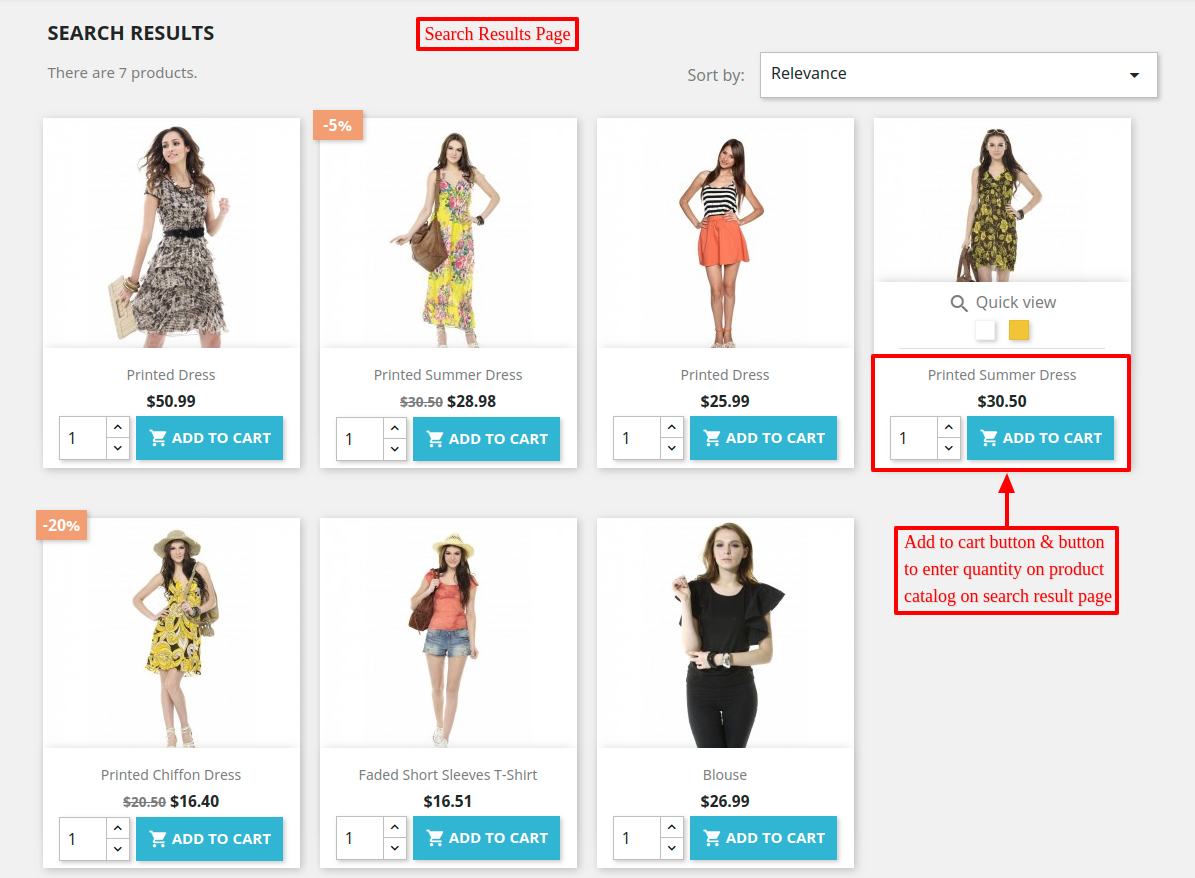 Add to cart button added on product list on search results page