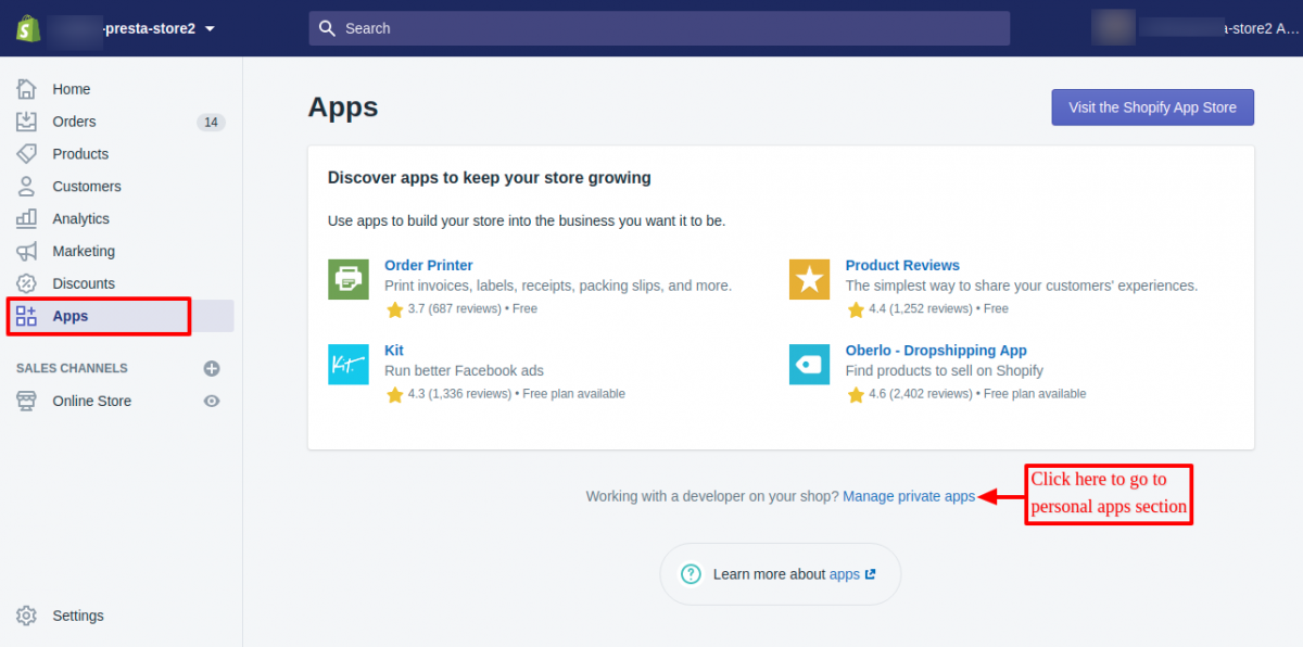 Go to the personal apps section of shopify store