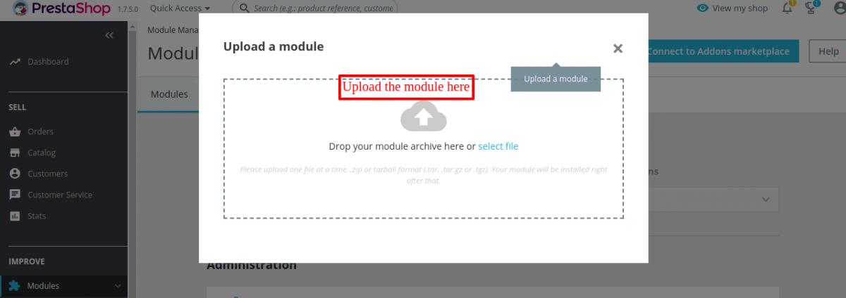 Upload or drop the file of Prestashop Multi-User Customer Account  module