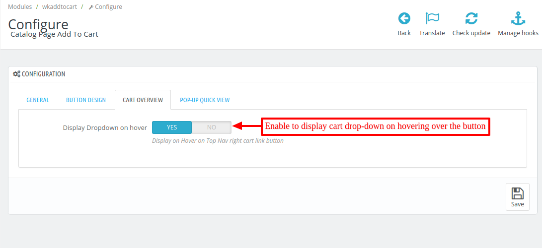 Enable cart overview on hovering the cursor