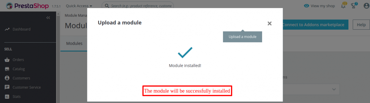 Shopify connector module is successfully installed