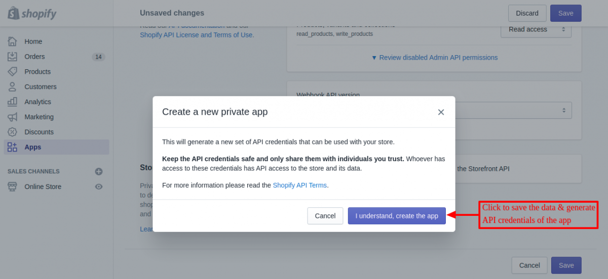 proceed to create private app