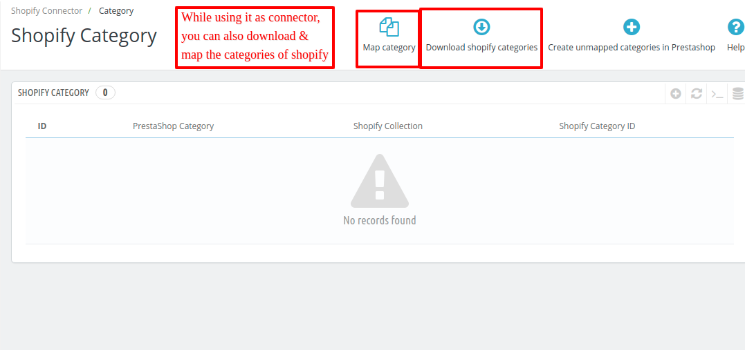 imported categories of shopify display under shopify category