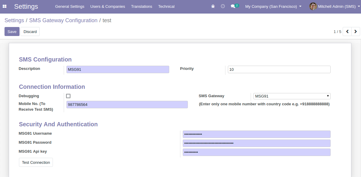 Configuring MSG91 SMS Gateway in Odoo