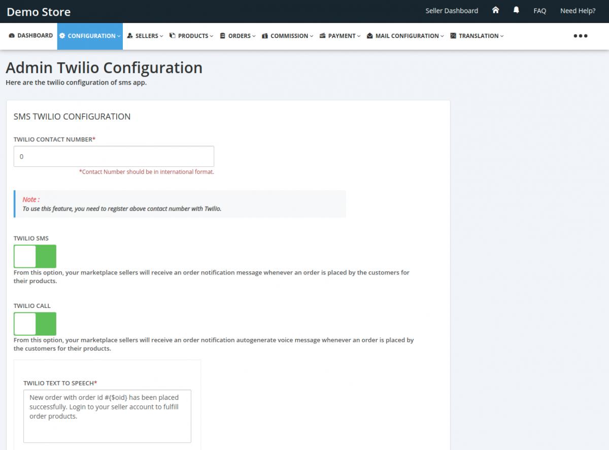 SMS-Twilio-Configuration-Admin