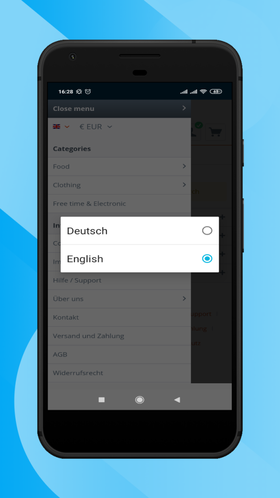 Shopware-hybrid-mobiel-app-language