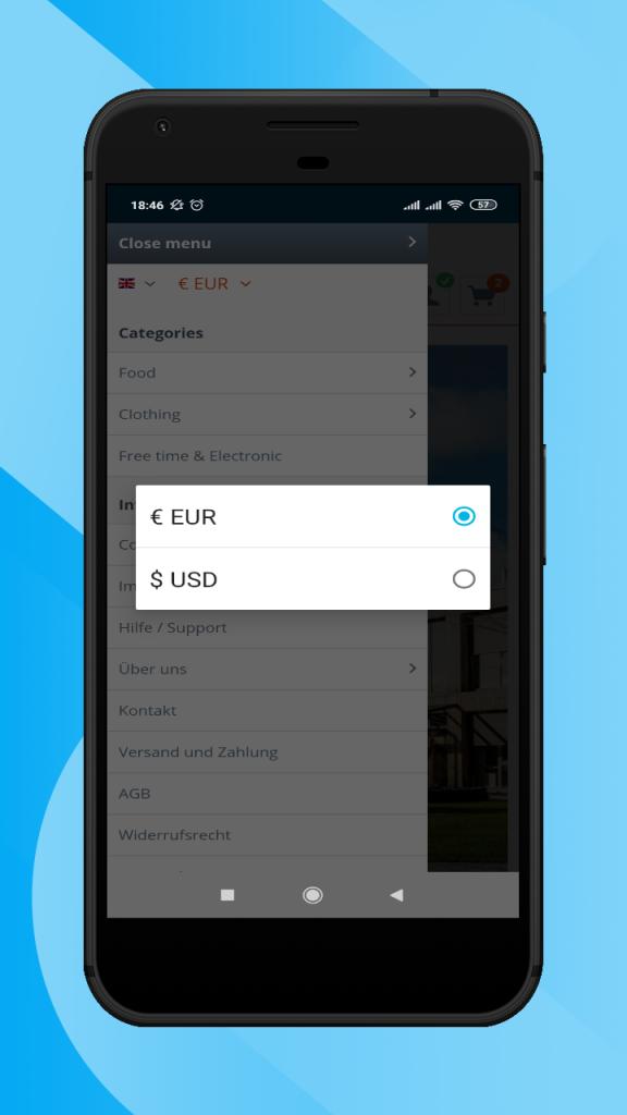 Shopware-hybrid-mobile-app-currency