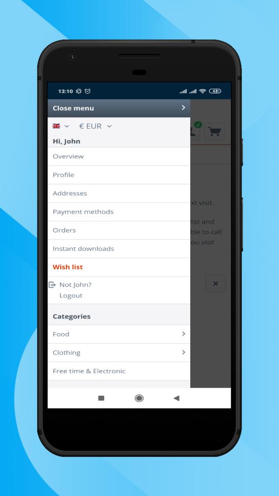 Shopware-hybrid-mobile-app-left-navigation