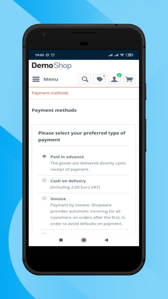 Shopware-hybrid-mobile-app-payment-methods