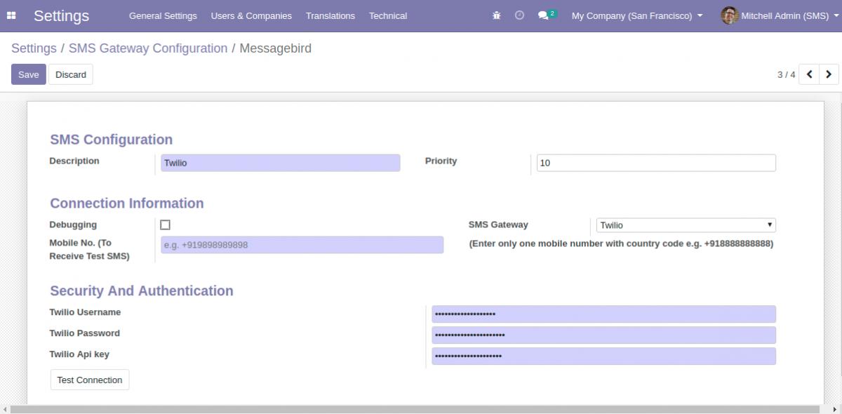 Configuring Twilio SMS Gateway in Odoo