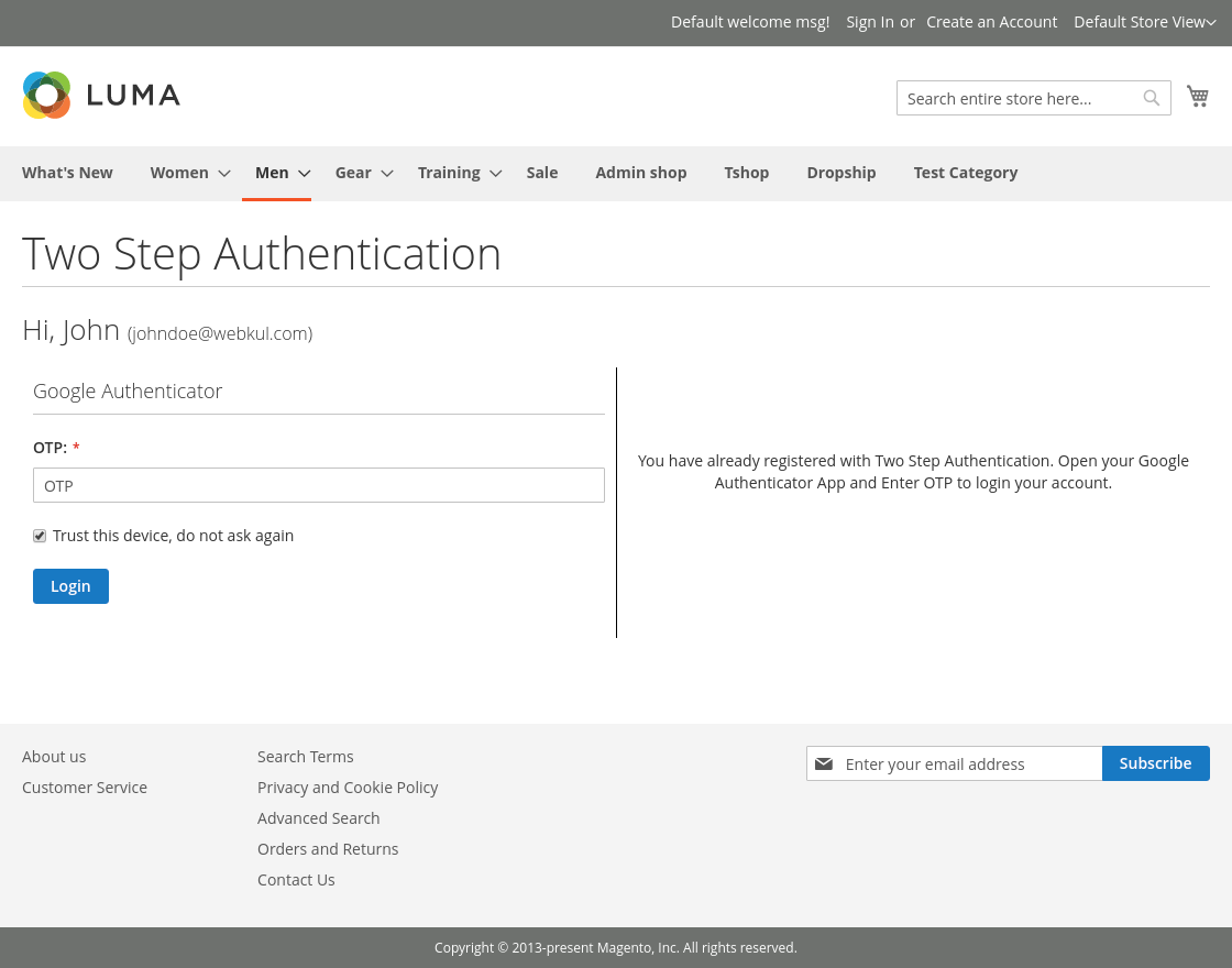 Magento2 security two factor authentication