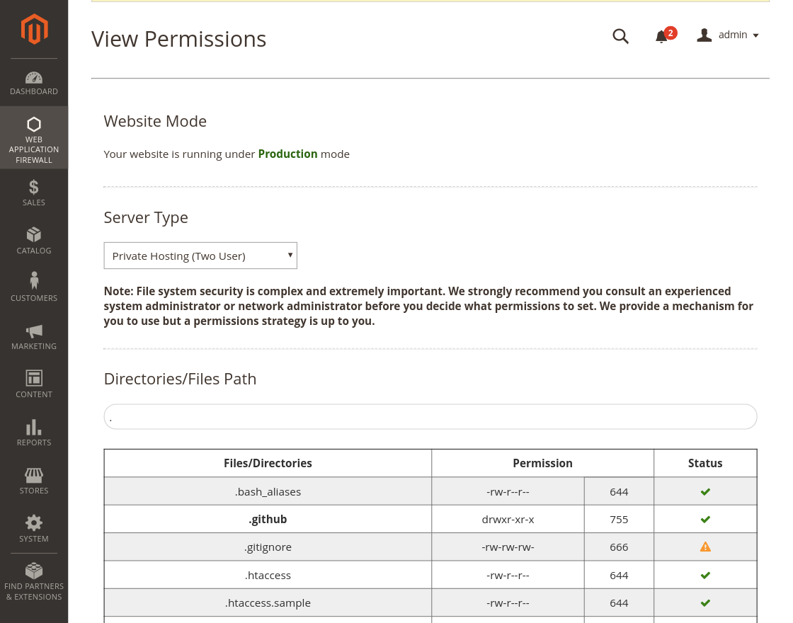 magento2 security view permissions