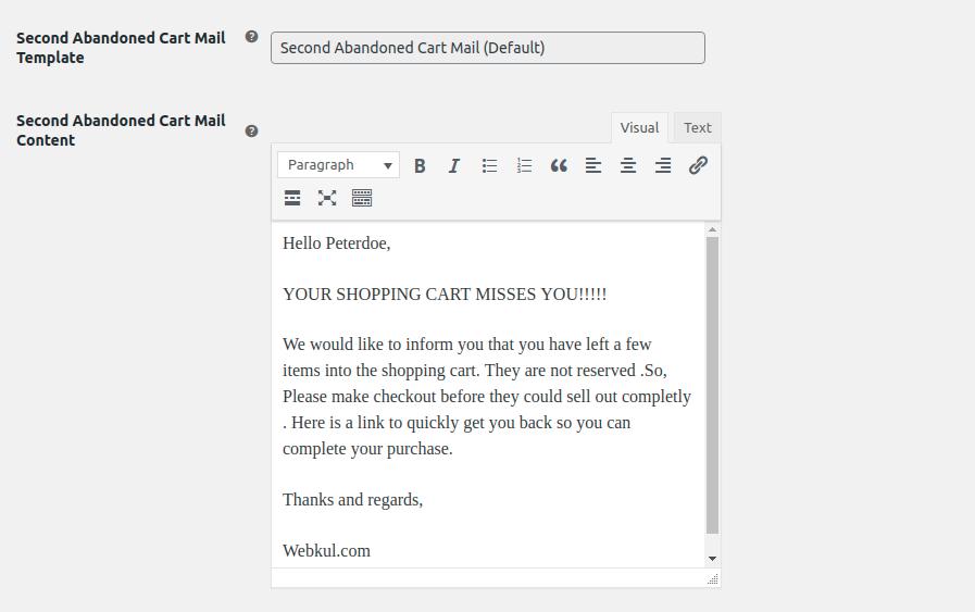WooCommerce Abandoned Cart E-mail Reminder manage-2nd-mail
