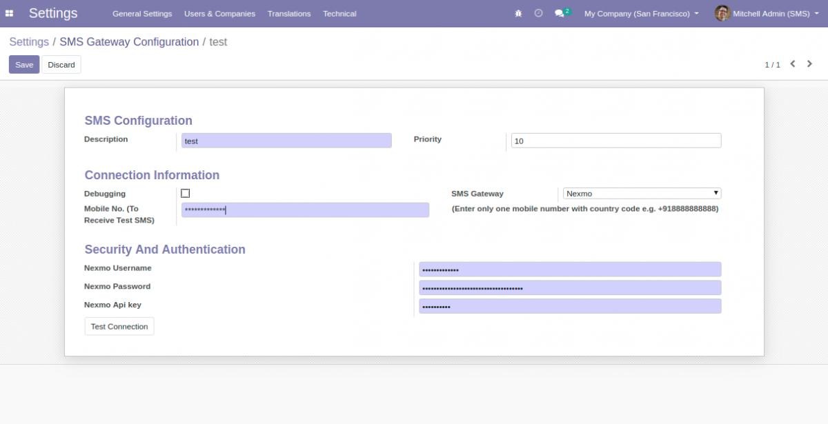 Configuring Nexmo SMS Gateway in Odoo