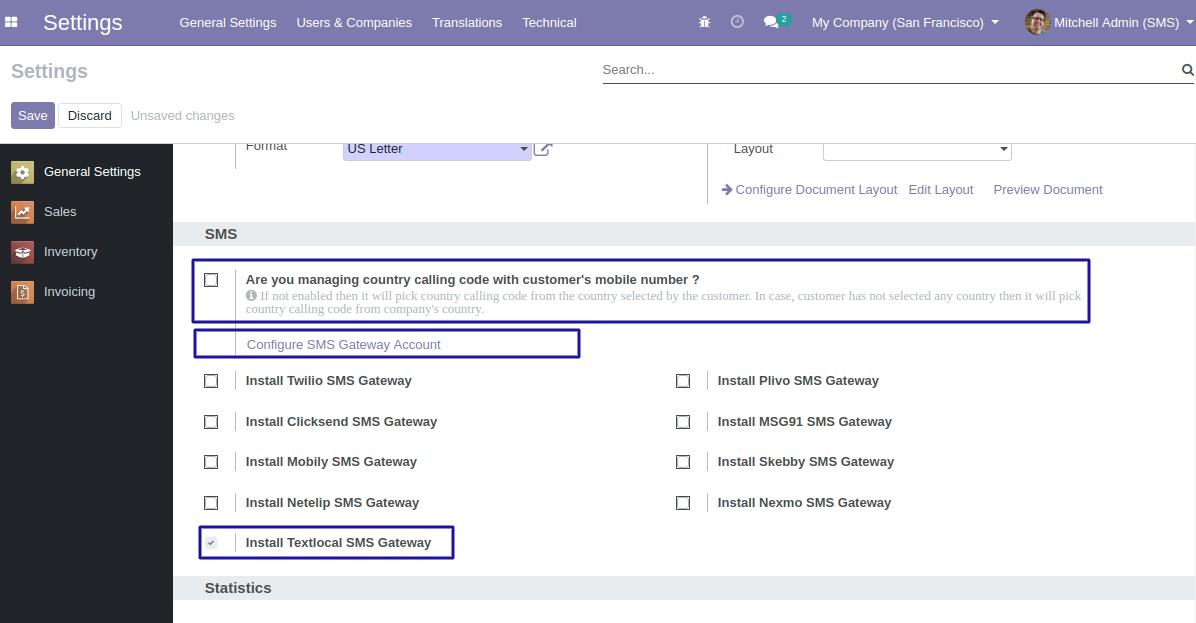 Installed Textlocal SMS Gateway in Odoo