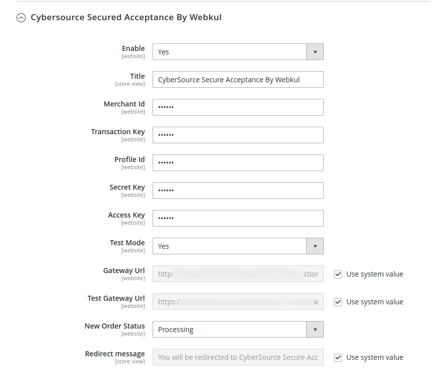 webkul-magento2-cybersource-payment-gateway-configuration