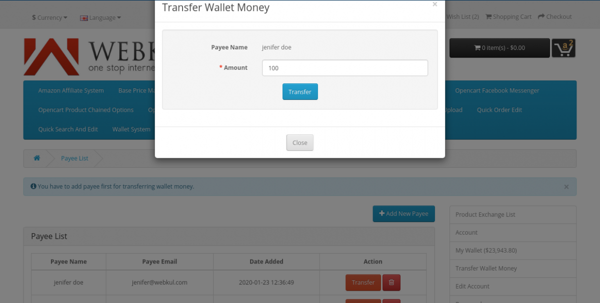 webkul-opencart-wallet-system-transfer-money-to-payee