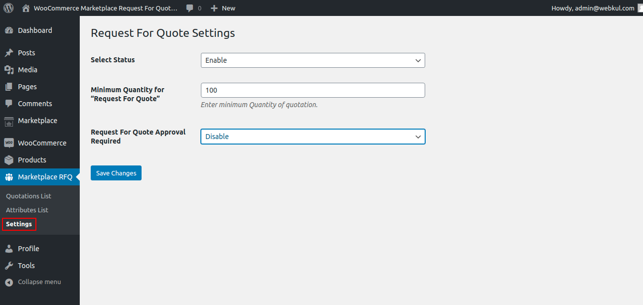 webkul-woocommerce-marketplace-request-for-quotation-admin-settings