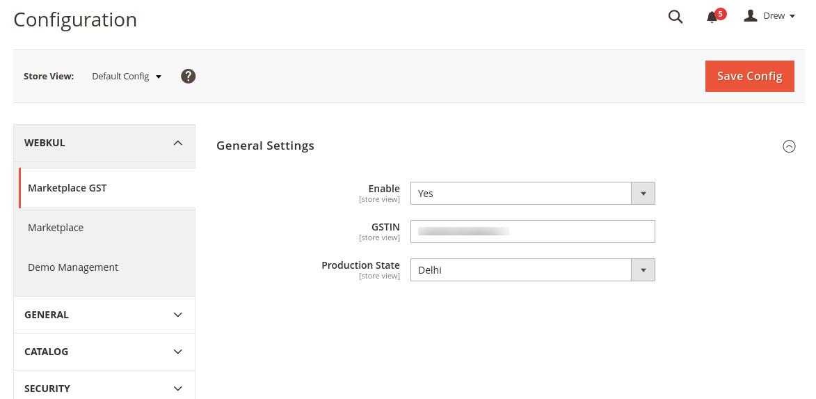 GST Tax E-commerce Marketplace GST Extension - Admin - end - configuration