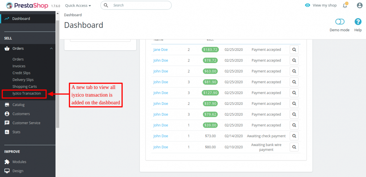 Iyzico transactions tab added