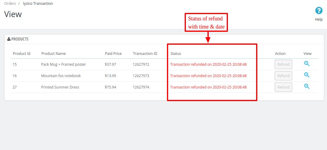 Refund status of Iyzico Transactions