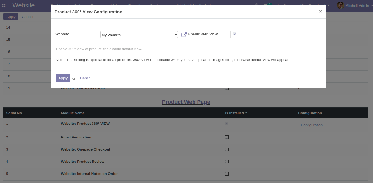 Enable Product 360° View in odoo Marketplace