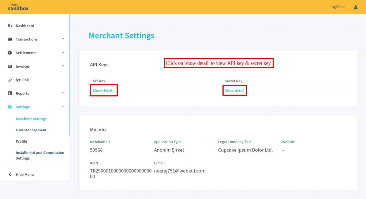 Prestashop Iyzico payment API keys