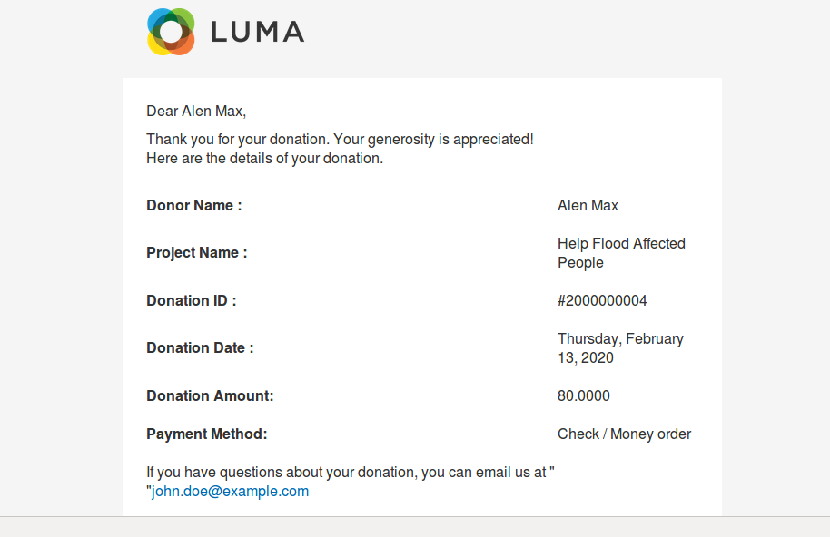 Donation Confirmation
