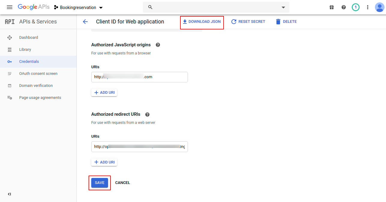 Client-ID-for-Web-a…-–-APIs-Services-–-Bookingreservation-–-Google-API-Console