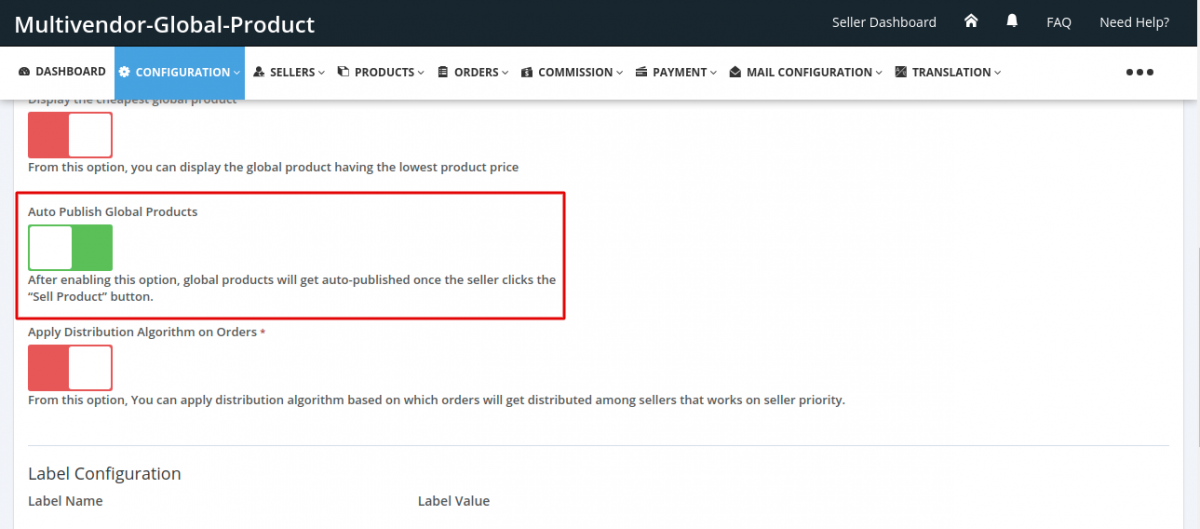 Auto publish global product